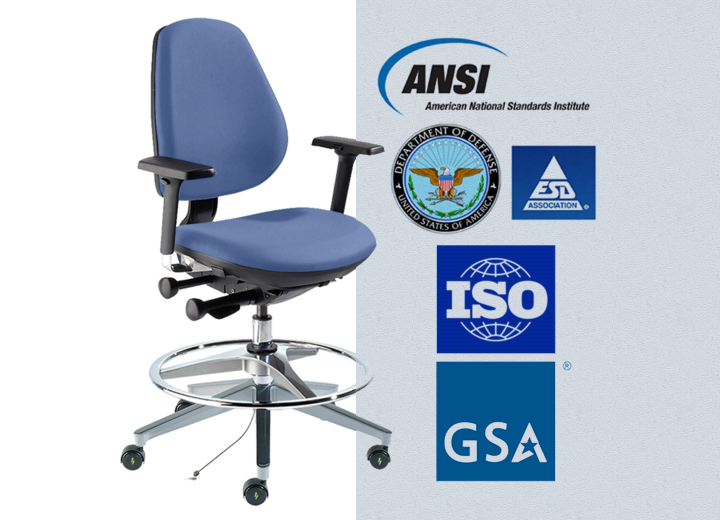 MVMT Chair with ISO and ESD authority logos
