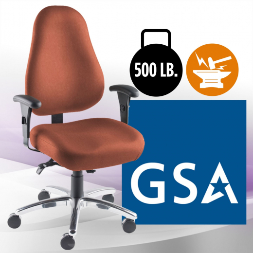 Intensive Plus chair with 500 lb weight capacity durability and GSA icons